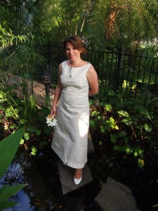 Catherine Watts, beautiful in her sail dress, on her wedding day.